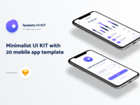 Minimalist UI KIT with 20 iPhone X templates for mobile app