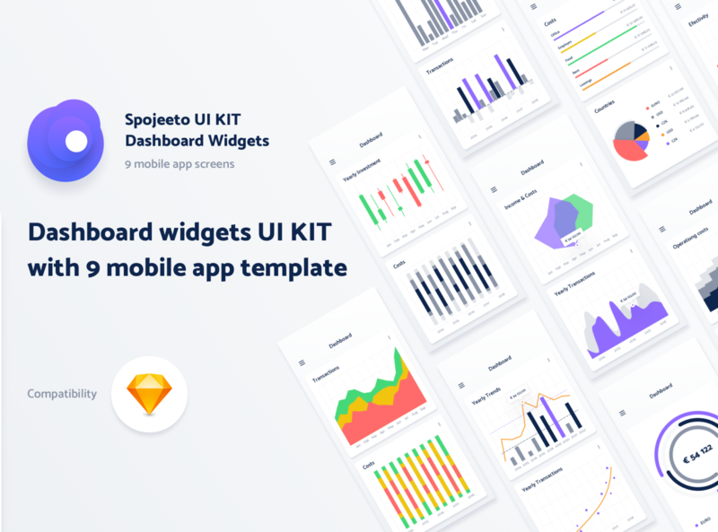 Spojeeto - Mobile Dashboard Widgets UI KIT app ui design app ui kit graph widget app design uikit crm b2b design mobile app dashboard ui design interface chart app ui