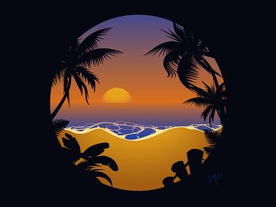 Sunset Beach Sillouette Illustration warm colors flat shirt design apparel design beach sunset design vector illustration illustrator