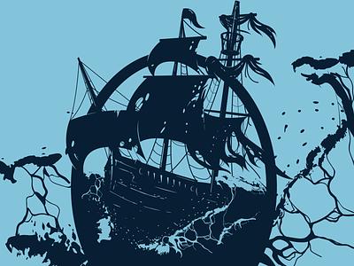 Ship Silhouette waves illustrator ship water flat silhouette illustration apparel design vector design