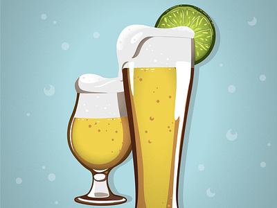 Ale Illustration & Poster Design art poster beverage drink glass lime ale beer vector illustrator design illustration