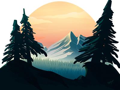 Mountainside nature illustration brush trees mountain nature design illustrator vector illustration