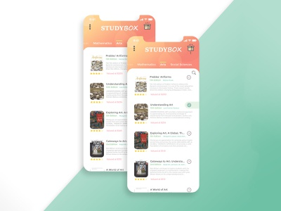 StudyBox App UI mobile app school bookstore books shop design ux ui adobe xd