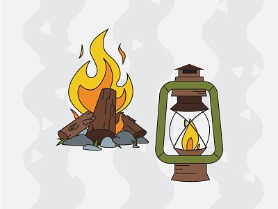 Camping Pack Illustrations - Fire nature camping flat illustration outline illustrator vector