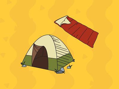 Camping Pack Illustrations - Rest tent nature camping outline flat design illustration vector illustrator