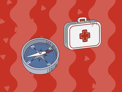 Camping Pack Illustrations - Aid outline design flat art illustration illustrator vector