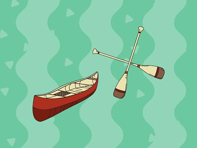 Camping Pack Illustrations - Canoe outline kayak canoe paddle camping nature flat art illustrator vector illustration