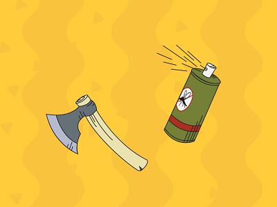 Camping Pack Outlines - Defense spray hatchet outline camping nature art flat illustrator vector illustration design
