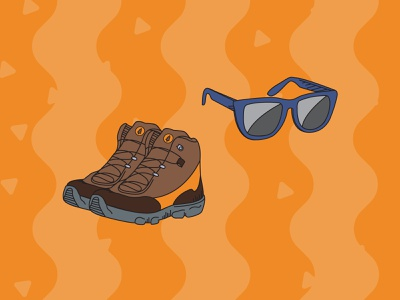 Camping Pack Illustrations - Accessories camping nature hiking boots sunglasses outline flat art illustrator vector illustration