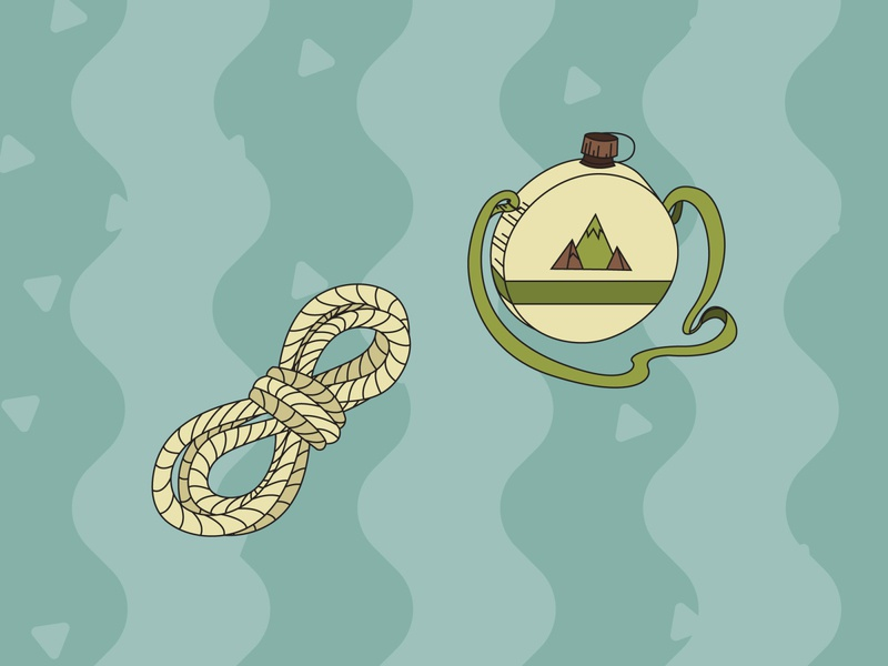 Camping Pack Illustrations - Canteen rope canteen nature camping outline flat art illustrator vector illustration