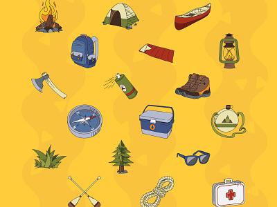 Camping Pack Illustrations - Full pack nature camping outline flat art illustrator vector illustration