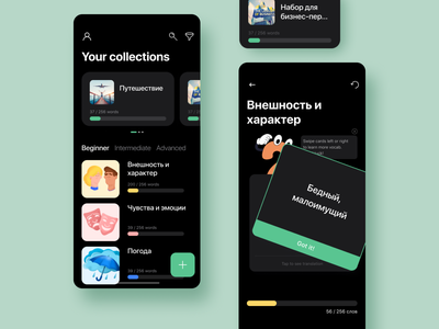 Flip & Learn - IOS figma sketch list interface design cards ux ui mobile ios interfacedesign interface learning app illustraion flat design dashboard dark ui dark theme app design app