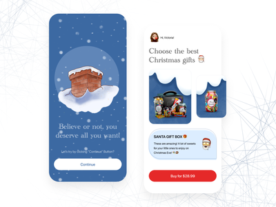 Christmas Gifts - IOS interface mobile ios app design ios minimal clean mobile app mobile ui ui app procreate santa illustration gifts christmas new year new years eve presents holiday