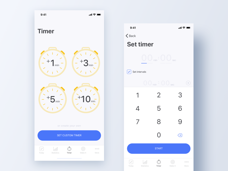 Timer iphone x ios app flat minimal mobile timer ui ux app design