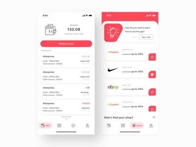 Dizconto - Cashback Service App ecommerce shopping account balance cashback list sketch uidesign ux ui flat material mobile iphone android ios interface design interface app design app