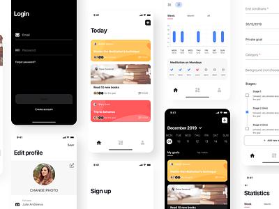 Goals Service - IOS dashboard dark ui habit tracker tracker goal social network interfacedesign ios interface sketch design app design mobile app ux ui flat