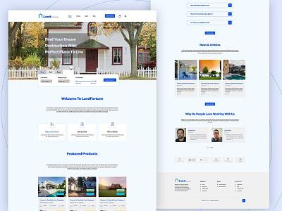 LandFortune Landing Page commercial place office home webdesign landing page graphic design land real-estate ux design ui design