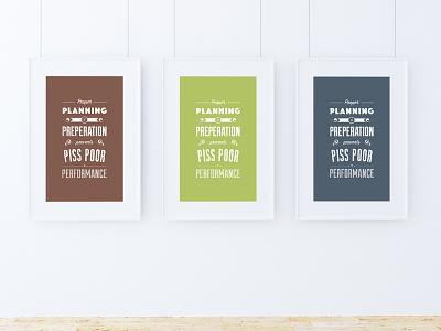 Seven P's graphic design performance preparation planning frame colour design poster typography
