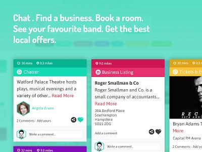 Joleany content panels web design art direction offers chat colourful local discover deals app web ui design