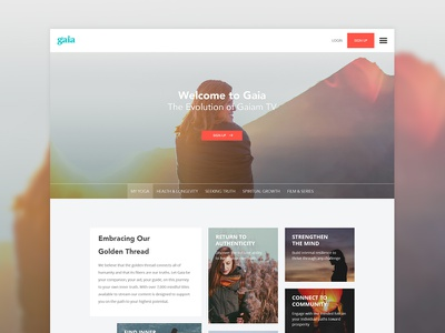 Gaia redesign top web site web design spiritual promo healing gaia embrace distinction ui design