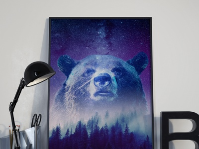 Grizzly Bear night stars trees revenant grizzly bear artwork poster art illustration design graphic