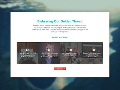 Gaia Promo Area web ui spiritual social site promo healing gaia embrace devices design