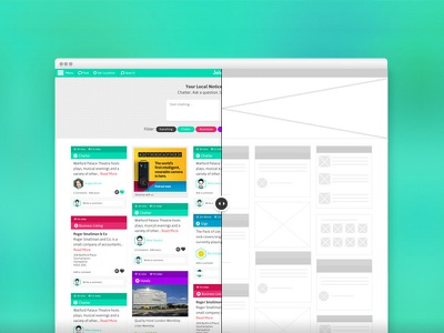 Joleany Home wire frame  wire frame web design art direction offers colourful local discover deals app web ui design