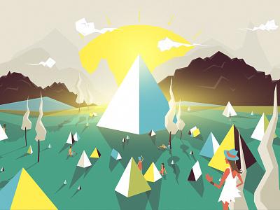 Glastonbury Returns animation film bbc glastonbury motion music festival summer pyramid stage triangles sunrise tents camping