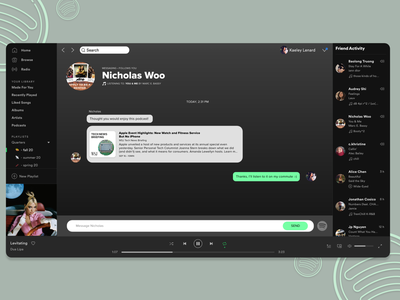 DailyUI 013 - Direct Messaging web design ui design spotify redesign podcast music messaging direct messaging dailyui 013 dailyui adobe xd