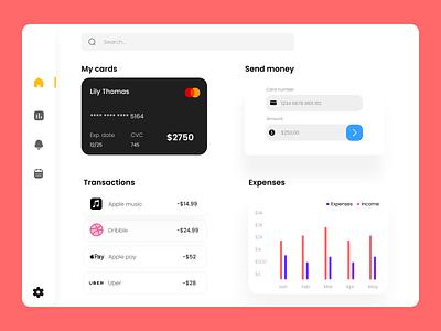 Bank dashboard banking bank web designer webdesign design uxdesign ux uiuxdesigner uiux uidesign ui