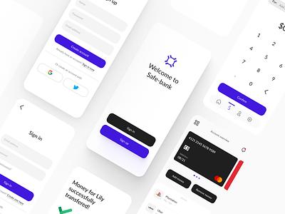 Safebank - Conceptual Bank app app mobile design design uxdesign ux uiuxdesigner uiux uidesign ui
