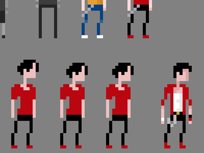 Character Process ideation pixel skate game character process