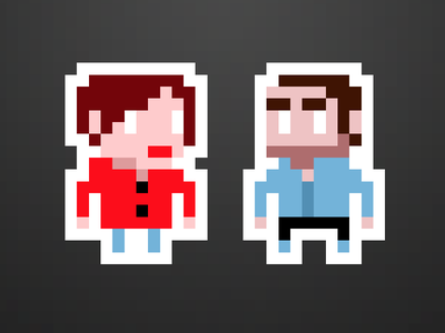 Her and me couple pixel retro outline
