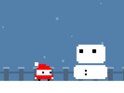 Interactive X-Mas-Card xmas game pixel-art snow snowman