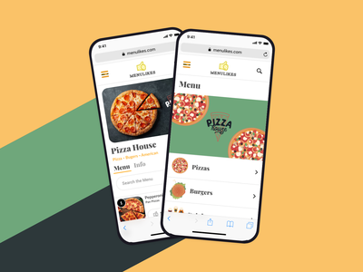 Menu App design clean food ui ux mobile web app pizza