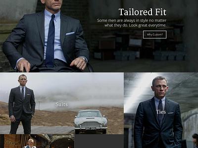 Custom Fitted Suits Mockup Website 007 james bond suits men fashion custom ecommerce shop minimalist simple clean