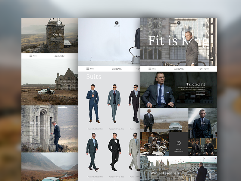 Custom Fitted Suits Mockup Website 007 james bond suits men fashion custom ecommerce shop minimalist simple clean