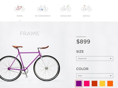Passion Bicycle- Bike Builder Detail bicycle website ui clean minimalist bike san francisco ecommerce custom shop