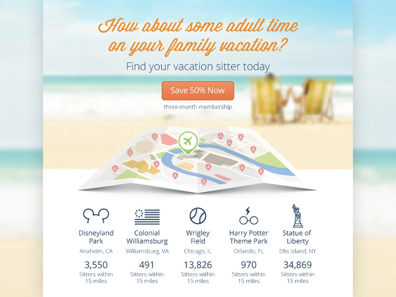 Vacation sitter email for Sittercity email travel sitter destination map beach icons ui vacation simple clean