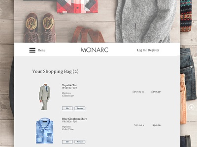 Monarc Shopping Bag ecommerce website ui ux shopping menswear suits cart clean minimalist