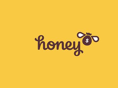 Honey Logo Concept wordmark clean design branding logo app finance moneybag money bee honey