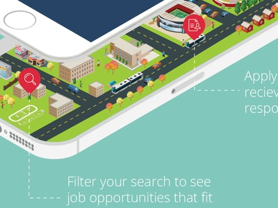 College Town Sitter on the go isometric buildings iphone city illustration college infographic