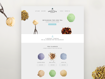 Tea Ice cream Website tea icecream website ui minimal clean ux ingredients food simple
