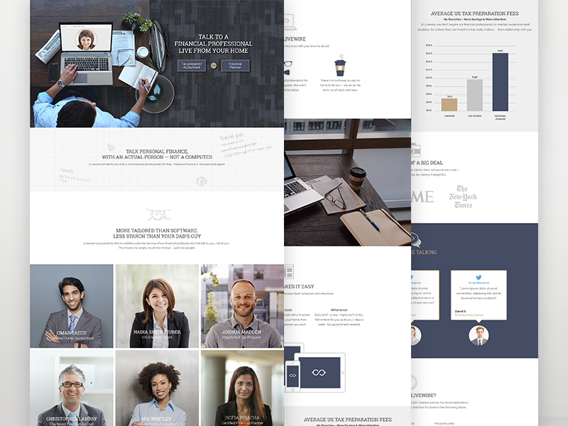 Livewire Financial Website tax finance website ui clean minimal ux