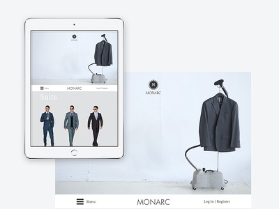 Monarc Menswear website design branding clean fashion menswear ui ux
