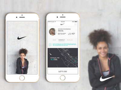 Nike Smart Coach App Concept map minimal women clean mobile ios ux ui ai train nike