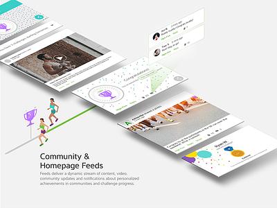 Feed Card UI community fitness ux ui card feed