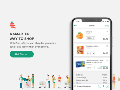 PrestoQ Checkout iphone ios clean minimal design illustration ui ux grocery shopping basket checkout
