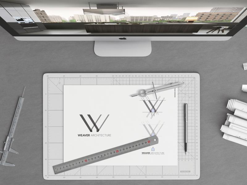 Weaver Architecture Logo modern minimal clean design sketch branding negative space house architecture logo weave