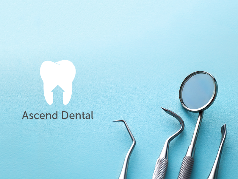 Ascend Dental arrow up clean negative space minimal blue branding logo dentist tooth